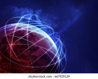 Global network over the world in blue and red color ,some elements of this image furnished by NASA