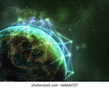 Global network over the world in green color tone ,some elements of this image furnished by NASA