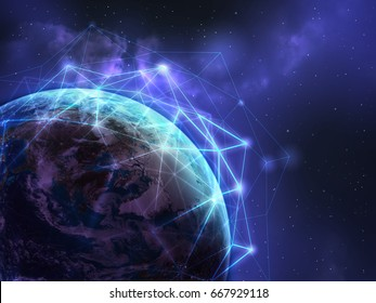 Global network over the world in light blue color ,some elements of this image furnished by NASA