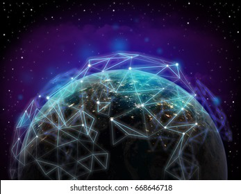Global network over the world ,technology network conceptual ,some elements of this image furnished by NASA