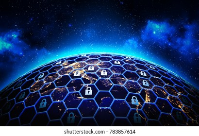 Global network security and data protection concept, a grid of cells with a lock symbol in some of them  around the Earth globe on deep blue space background, 3d illustration