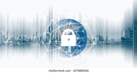 Global network security system technology. Globe and network connection and lock icon. Element of this image are published by NASA