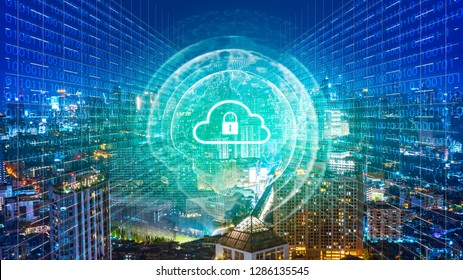Global network security system technology. Globe and network connection and lock icon.Smart city and global network concept.