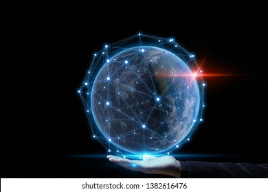 Global networking Concept.Future Technology IOT ( Internet Of think ).
