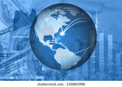 Global on trading graph and city and business money background. element of this image furnished by NASA