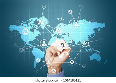 Global Outsourcing and Recruitment concept on virtual screen.  Modern business solution.
