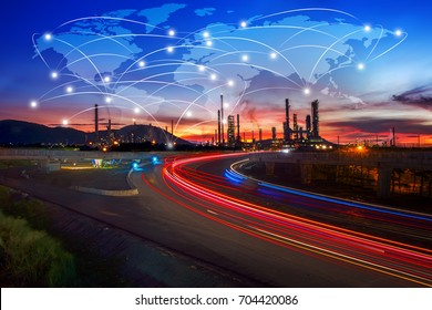 Global partner connection of communication network, oil and gas industry petrochemical plant, Business Logistics Concept