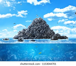 Сoncept of global pollution. A lot of garbage bags in the sea of the background of nature. Save the planet.