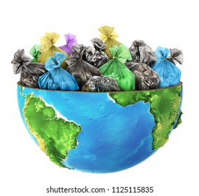 Сoncept of global pollution. Half the planet is filled with garbage bags.