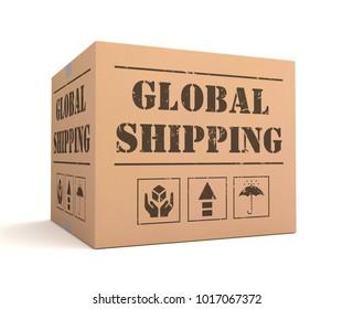 global shipping cardboard box concept  3d illustration
