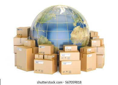 Global shipping and delivery concept, parcels with Earth. 3D rendering isolated on white background. Elements of this image furnished by NASA
