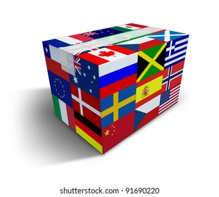 Global Shipping and worldwide delivery transport courier of international goods from internet sales and cargo transportation as a box with world flags and tape closed with shadow on a white.