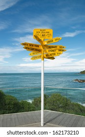 Global signpost - world distances measured from the world's southernmost signpost in Bluff, New Zealand.