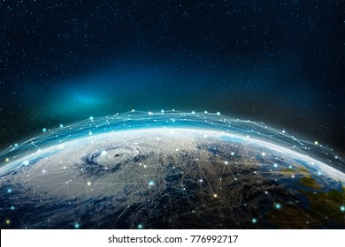 A global social, information network across the planet, view from space. The earth is surrounded by a web of digital data. Elements of this image furnished by NASA