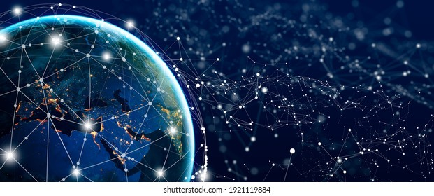 Global Social Network and Business Connection Concept. Future of the internet and technology. Elements furnished by NASA. Copy space.
