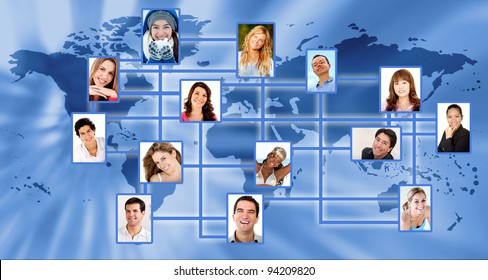 Global social network with the world map and people linked - conceptual image