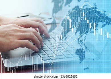 Global stock market concept. Using laptop for stock exchange.