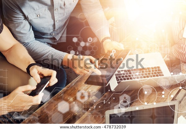 Global Strategy Connection Message Virtual Icon Innovation Graph Interface.Coworkers Making Great Online Business Solution.Trading Team Discussion Corporate Work Concept Studio.Electronic Gadget Hand