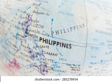Global Studies - Part of an old world globe Focus on  Philippines
