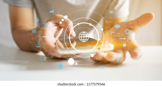 Global technology with social icons. Social media concept
