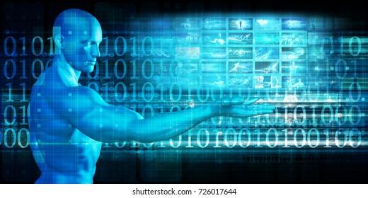 Global Technology Solutions on the Internet Concept Art 3D Illustration Render