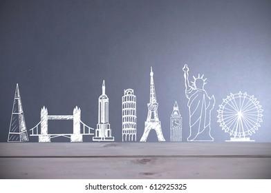 Global tourist landmarks skyline sketch
