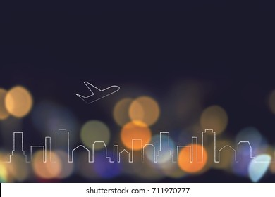 global travel industry concept: airplane taking off over city skyline and nighttime lights bokeh background