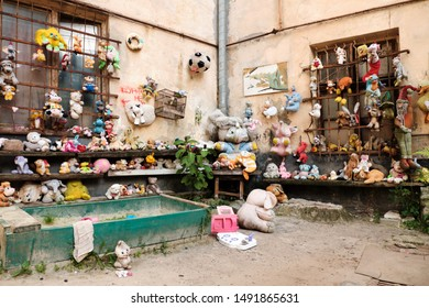 Global view of Collection of abandoned stuffed animals in the Yard of Lost Toys, in Lviv Ukraine. August 21, 2019.