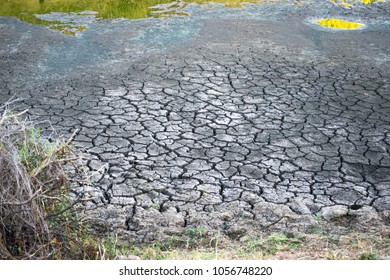 Global Warmin Effect - texture of a dried cracked river bed