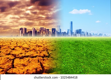 Global warming - the city, barren land and green meadow, collage