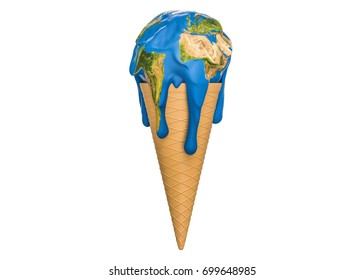 Global warming and climate change concept, ice cream earth melts. 3D rendering, Elements of this image furnished by NASA