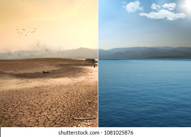 Global warming and Climate Change impact scene of lake dried and smoke appear on mountain with Abundance of nature full of water in river with green mountain and Blue sky with Sunlight.