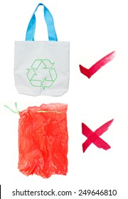 Global warming concept choice of reusable bags over plastic bags