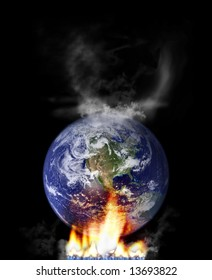 global warming concept with globe and fire. globe from http://veimages.gsfc.nasa.gov/