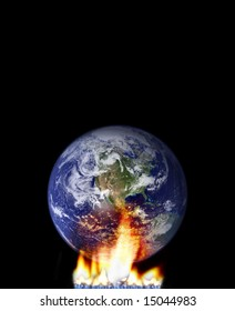 global warming concept with globe and fire. http://veimages.gsfc.nasa.gov/