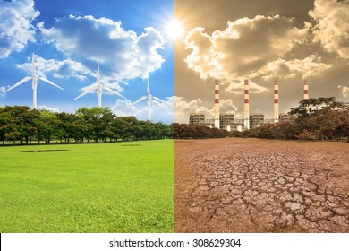 A global warming concept image showing the effect of pollution from power plant coal and clean energy from windmills