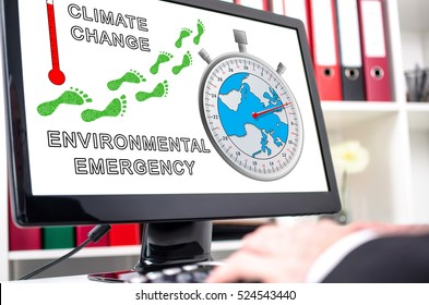 Global warming concept shown on a computer screen