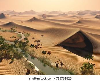 Global warming concept. solitary sand dunes under impressive evening sundown sky at drought desert scenery 3d rendering