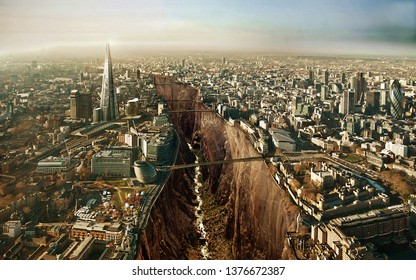 Global warming effect. Apocalypse. Near future. Dry river Thames. London near future if we won't take actions now.