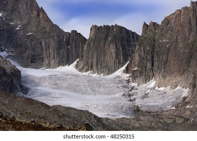 Global warming: Glacier of Galenstock retreat and disappearance, Furka Pass, cantons Uri and Valais, Swiss Alps.