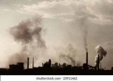 global warming / heavy industry smoking chimneys