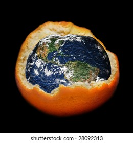 Global warming and ozone layer destroying: planet Earth on a dark background