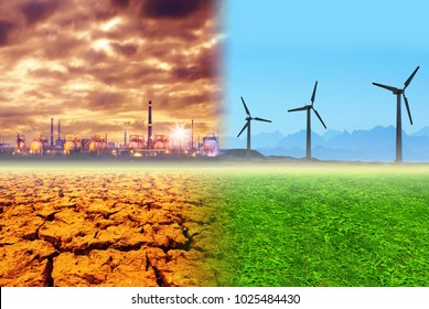 Global warming and pollution concept, collage