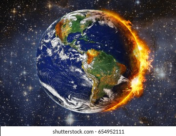 Global Warming and Pollution Concept.Illustration of potential cataclysm striking planet Earth (Elements of this image furnished by NASA)