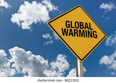 global warming road sign