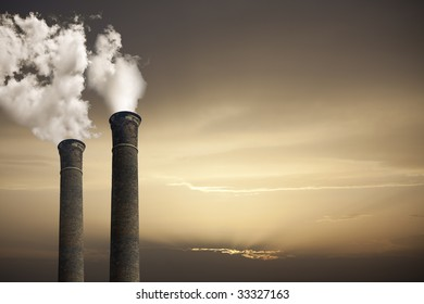 Global Warming theme with chimneys and gas