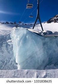 Global warming: white fabric covering leftover ice on Stubai Glacier to it prevent from melting in Tyrol, Austria