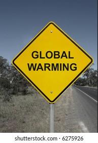 Global warming - yellow warning sign.