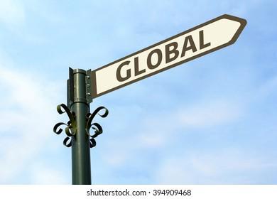 GLOBAL WORD ON ROADSIGN