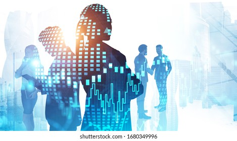 Global world and teamwork concept. Silhouettes of business people in abstract city with double exposure of blurry digital chart and planet hologram. Toned image